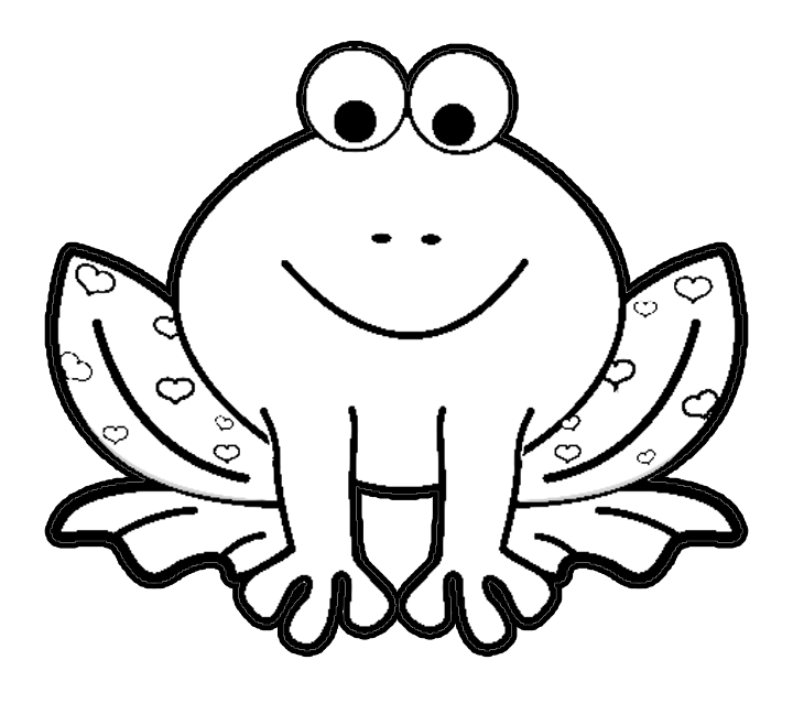 Valentines Day Cartoon Frog With Hearts Coloring Page